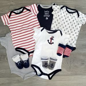 5 Sailor Bodysuits with Matching Socks